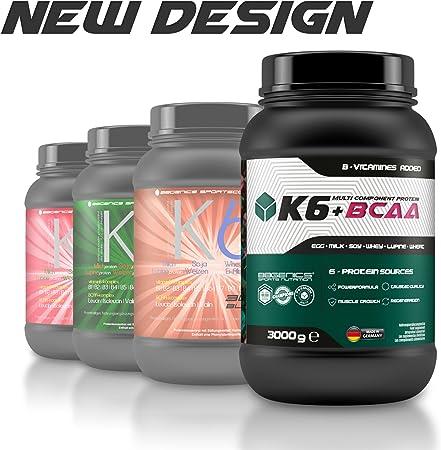 K6 + proteína multicomponente BCAA, fuentes de proteína de suero de leche 6 (suero de leche) de la leche (caseína) huevo, soja, trigo y proteínas de ...