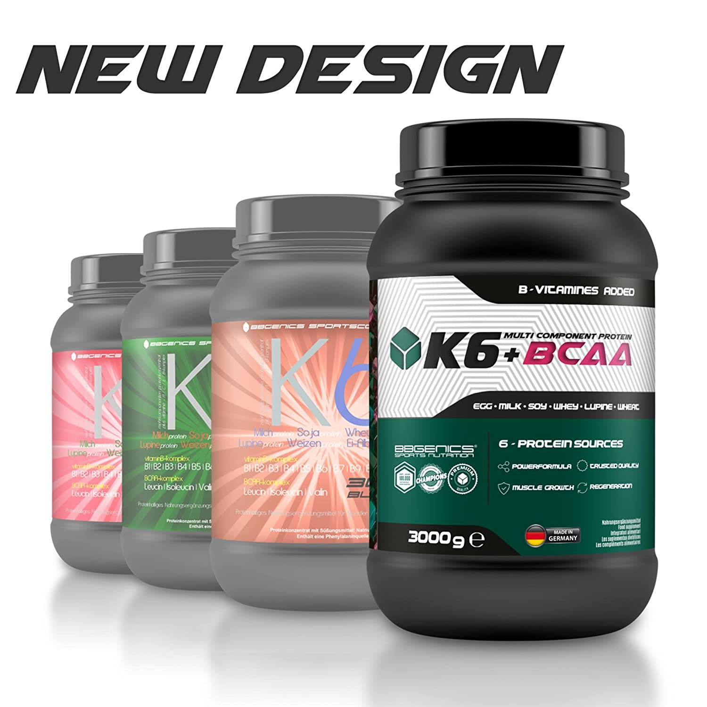 K6 + proteína multicomponente BCAA, fuentes de proteína de suero de leche 6 (suero de leche) de la leche (caseína) huevo, soja, trigo y proteínas de lupino ...