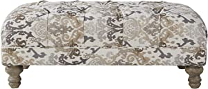 Roundhill Furniture Metropolitan Fabric Tufted Cocktail Ottoman, Multi