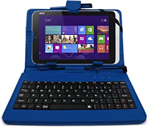 DURAGADGET Faux Leather Protective Micro USB Keyboard Case in Blue - Compatible with Acer Iconia Tab A1 | A1-811 | A1-8 | W3 | W3-810 | W4-820 & A100