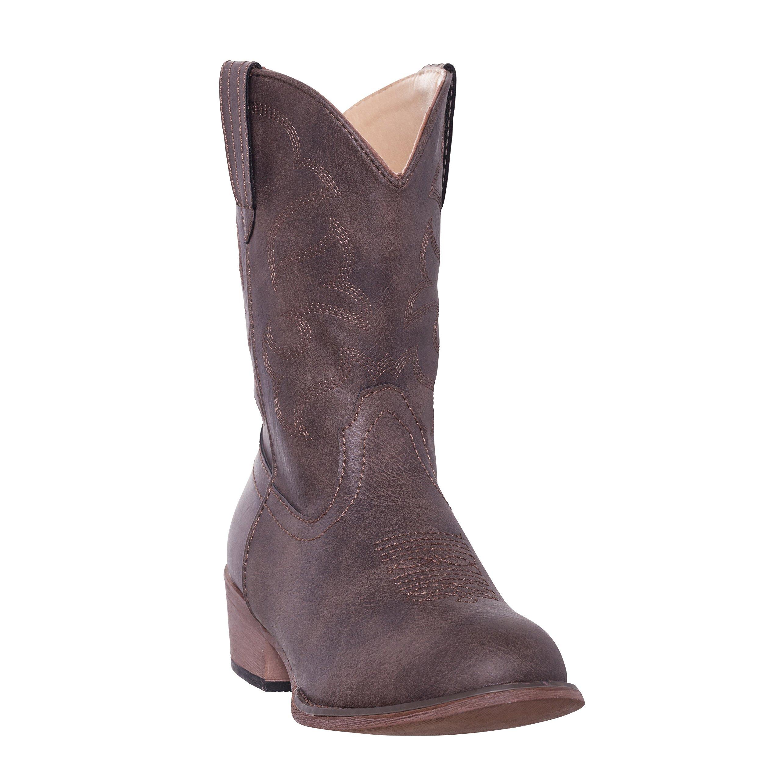 Children Western Kids Cowboy Boot,Distressed Brown,8 M US Toddler