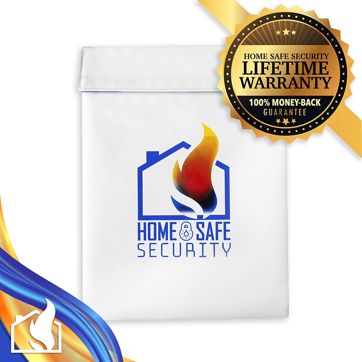 Large Fire Resistant Envelope Pouch for Important Documents 15x11 Home Safe Security Fireproof Bag