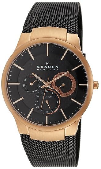 Skagen Titan Meshband 809XLTRB - Reloj de caballero de cuarzo (japonés), correa de titanio color negro: Skagen: Amazon.es: Relojes