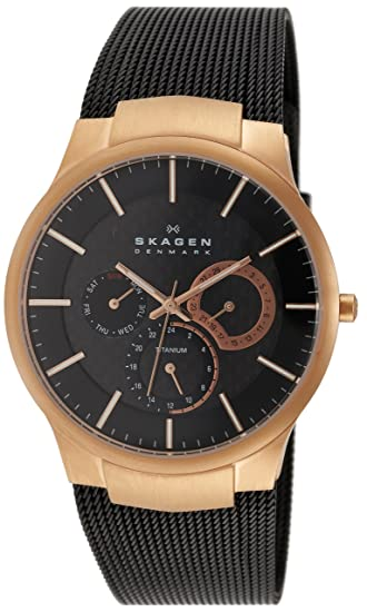 Skagen Titan Meshband 809XLTRB - Reloj de caballero de cuarzo (japonés), correa de