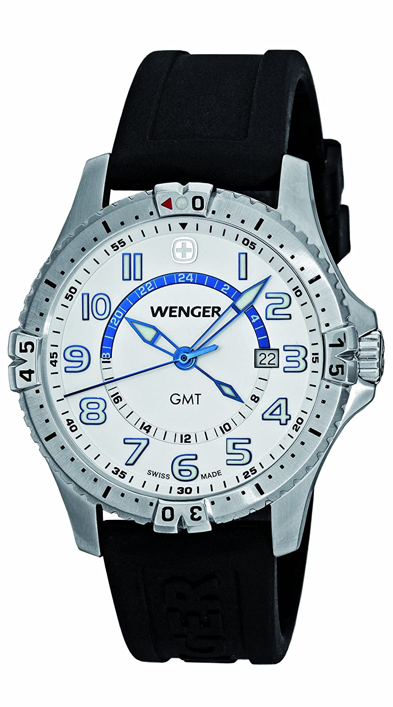 Wenger Herren-Armbanduhr XL Squadron GMT Analog Quarz Silikon 77070