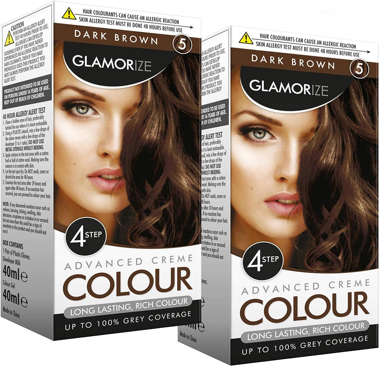 Glamourize - Tinte para cabello de color marrón oscuro n.º 5 de Glamorize (2 unidades), color marrón oscuro natural para mujer, tinte profesional de ...