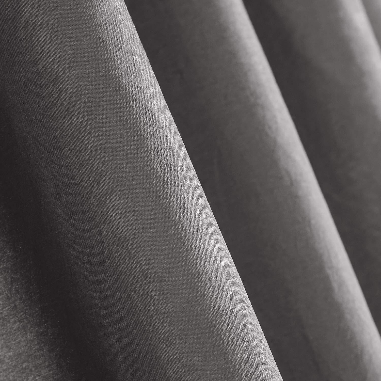 Dreaming Casa Lot de 2 Rideaux Voilages Blanc en Effect Soie Panneaux de Fen/êtres Rideau Blanc avec Solide /à Passe Tringle El/égant Souple Tulle pour Salon Chambre D/écoration 140 cm x 240 cm