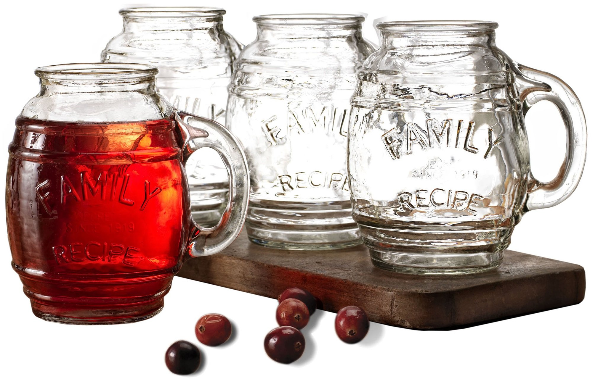 Circleware Family Recipe Glass Drinking Glasses, Set of 4 Beer Barrel Mugs with Handles, 26 ounce