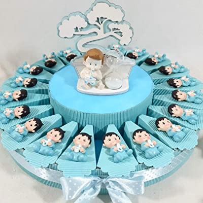 20 imanes infantiles bomboniere pensierini baby shower nacimiento o bautismo masculino --TATA 20 FETTE + 20 CALAMITE + 1 CENTRAL + CONFETTI: Hogar