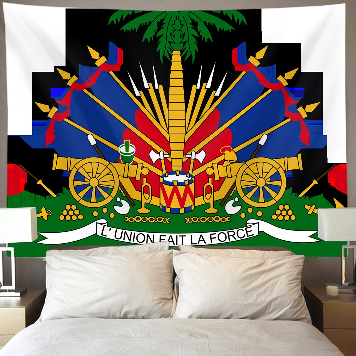 GLORY ART Coat Of Arms Of Haiti Wall Tapestry Hippie Art Tapestry Wall Hanging Home Decor Extra large tablecloths 50x60 inches For Bedroom Living Room Dorm Room