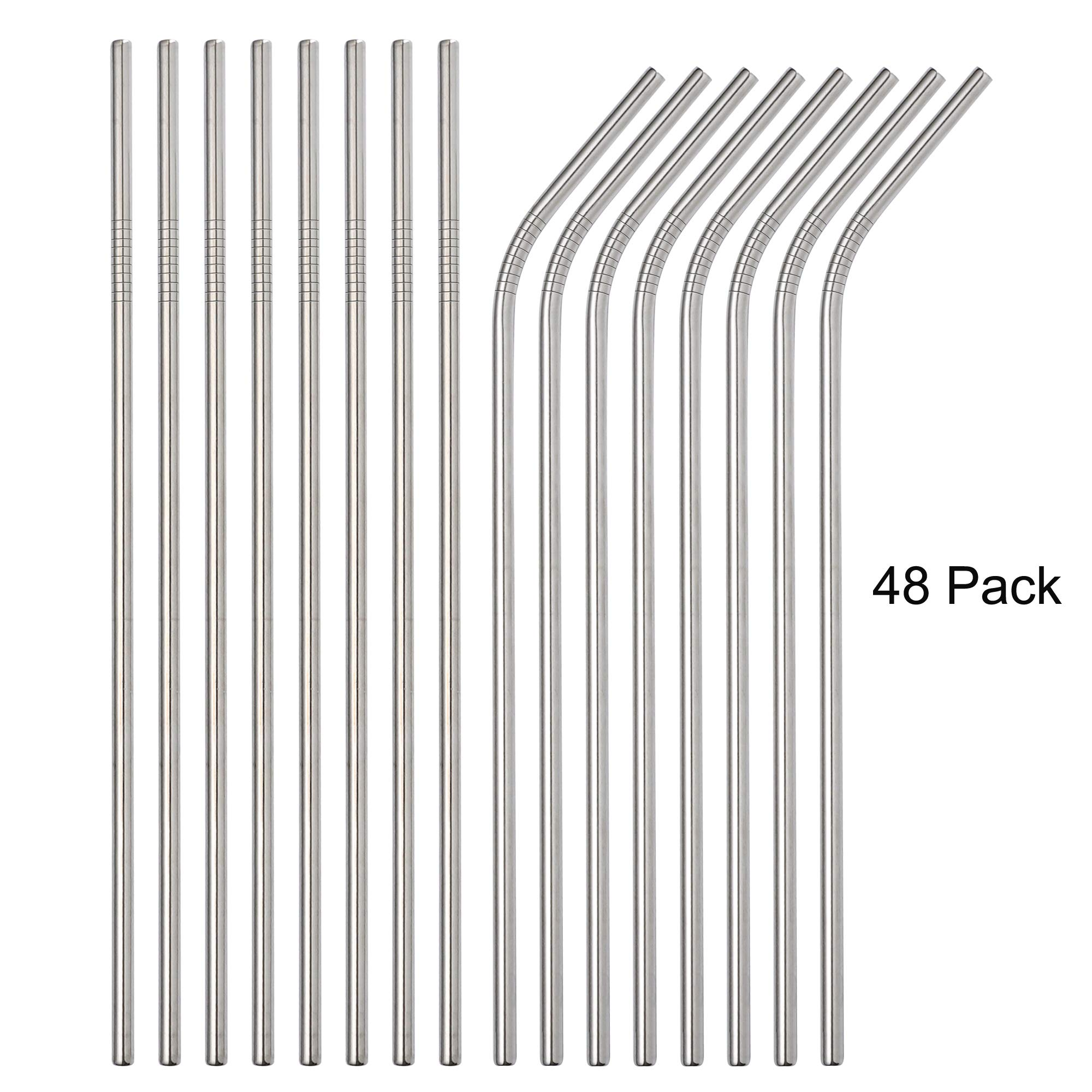 Brightbuy Set of 48 Stainless Steel Metal Straws 8.5'' Reusable Drinking Straws For 20oz Tumblers Yeti 6mm Diameter (24 Straight + 24 Bent) (Silver) by Brightbuy
