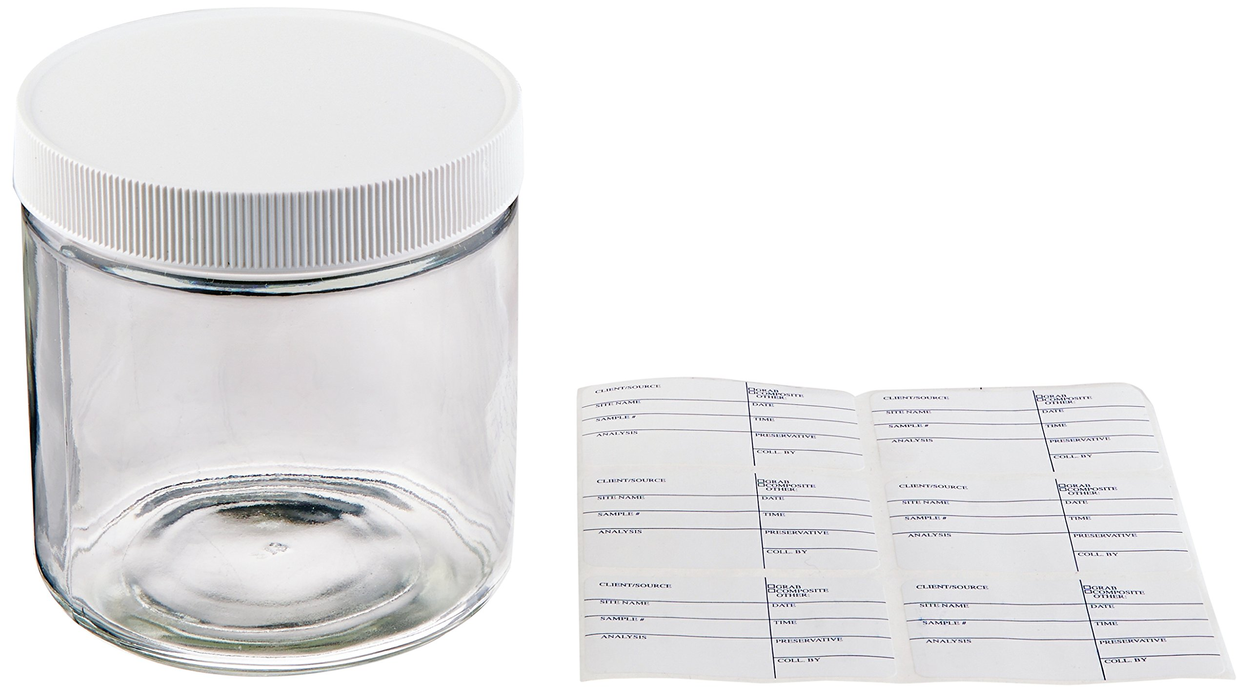 JG Finneran D0084-16 Clear Borosilicate Glass Short Straight Sided Standard Wide Mouth Jar with White Polypropylene Closure, Unlined, 89-400mm Cap Size, 16oz Capacity (Pack of 12)