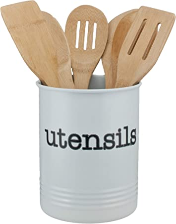 Large White Utensil Holder - Kitchen Utensil Crock- To Organize Your  Kitchen Gadgets and Cooking Utensils. Big Farmhouse Utensil Kitchenware  Holder