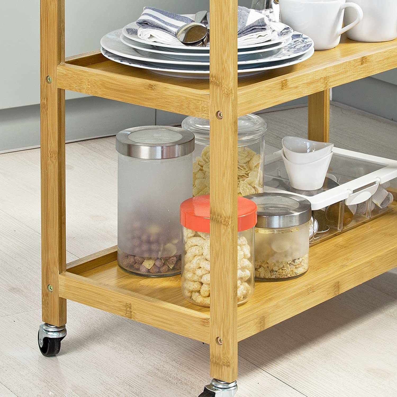 SoBuy/® Carrello di servizio Scaffale da bagno,bamb/ù,FKW34-B-N,IT