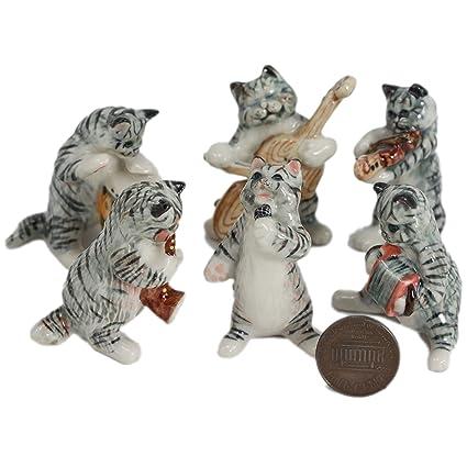 6 gris tigre gatos música banda Set Cerámica cerámica Animal ...