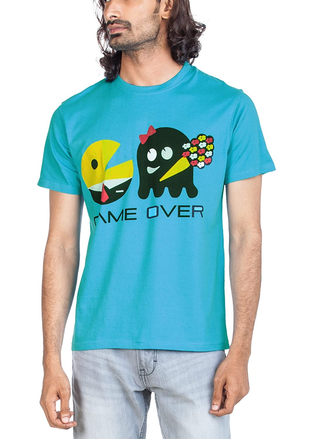 fa1ffc0c2e2 Zovi Pac Man Game Over Blue Graphic T-Shirt (10890007002 X-Large)   Amazon.in  Clothing   Accessories