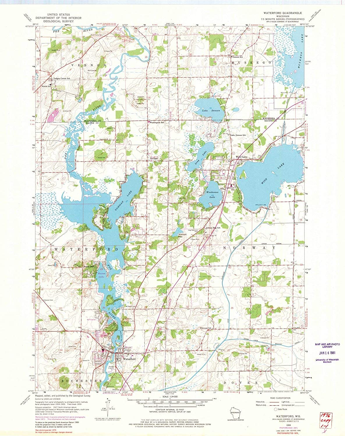 Amazoncom Wisconsin Maps 1959 Waterford Wi Usgs Historical - Us-geodetic-maps