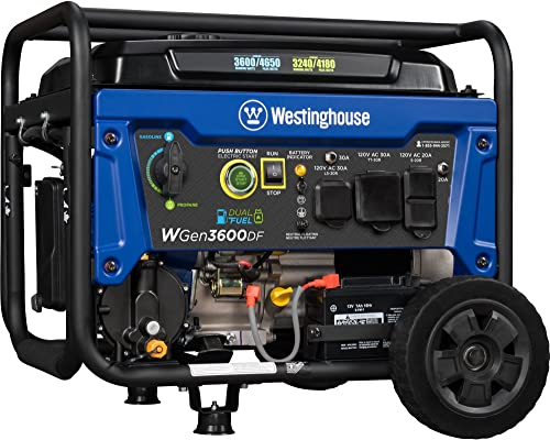 Westinghouse WGen3600DF Dual Fuel Gas and Propane Electric Start Portable Generator 3600 Rated 4650 Peak Watts, RV Ready, CARB Compliant