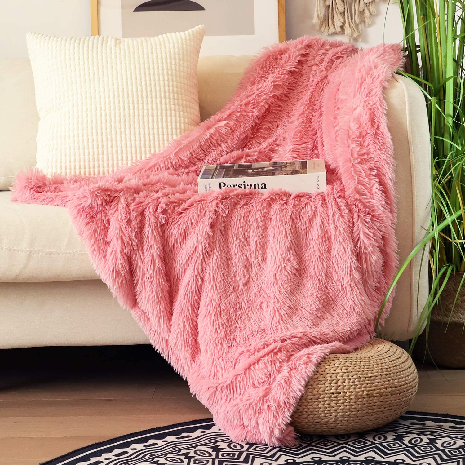"Decorative Extra Soft Faux Fur Throw Blanket 50""x60"",Solid Reversible Fuzzy Double Layers Lightweight Long Hair Shaggy Blanket"