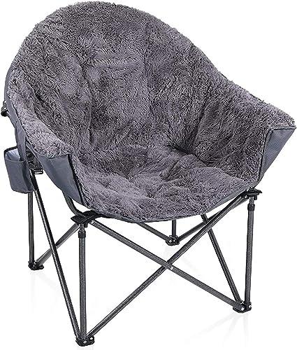 ALPHA CAMP Plush Moon Saucer Chair