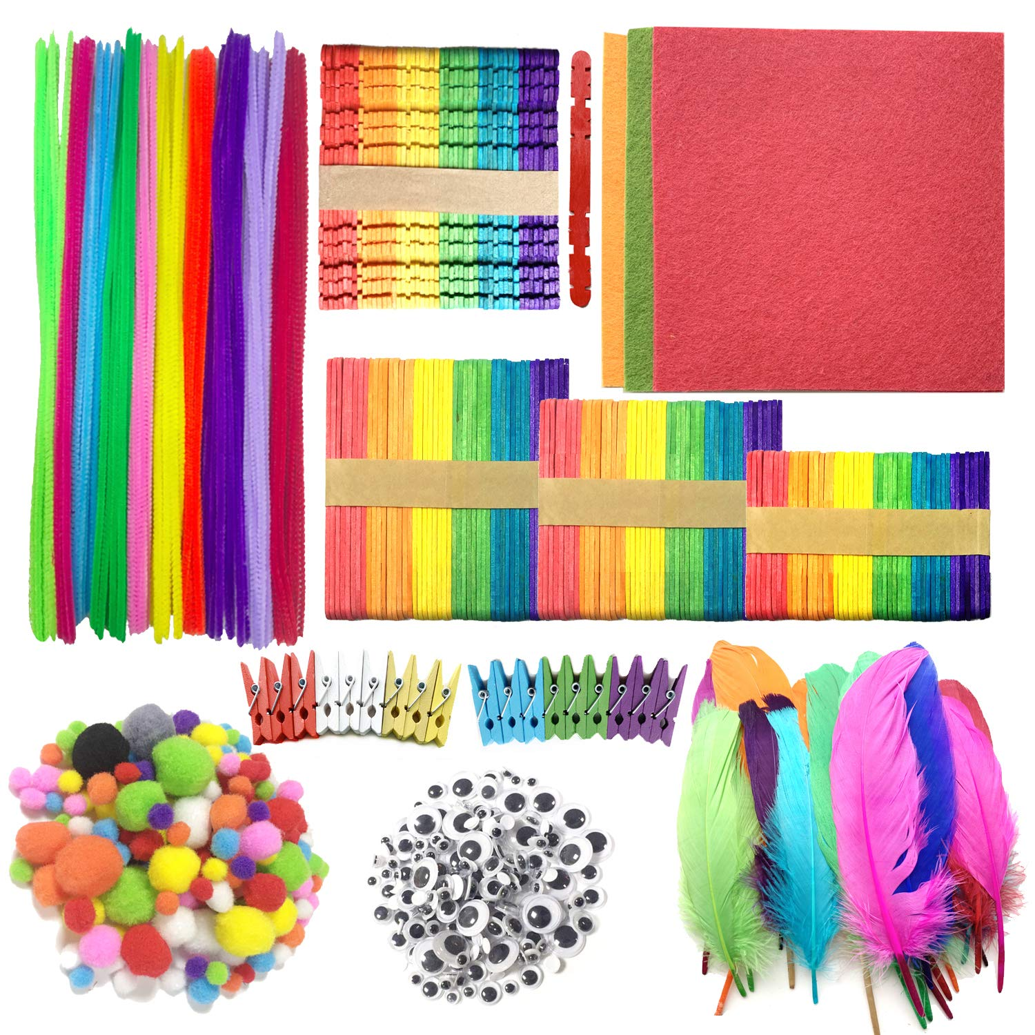 Wartoon Pipe Cleaners Chenille Stem and Pompoms with Googly Wiggle Eyes and Craft Sticks Non-Woven Felt Fabric Sheets for Craft DIY Art Supplies, 742 Pieces