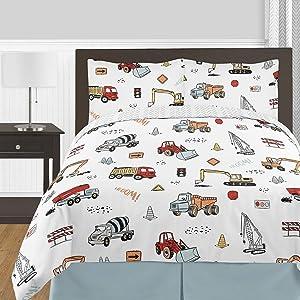 Sweet Jojo Designs Construction Truck Boy Full/Queen Size Kid Childrens Bedding Comforter Set - 3 Pieces - Grey Yellow Orange Red and Blue Transportation Chevron Arrow