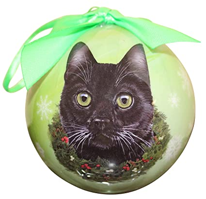 black cat christmas ornament shatter proof ball easy to personalize a perfect gift for black cat - Black Cat Christmas Ornament