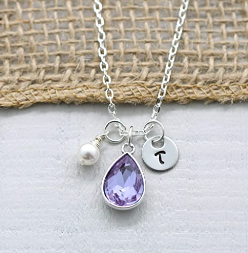 JUne Necklace,Birthstone Necklace,Alexandrite Necklace,Pearl Necklace,Birthstone,June,Necklace,Initial Necklace,Purple Necklace,Pearl,Monogr
