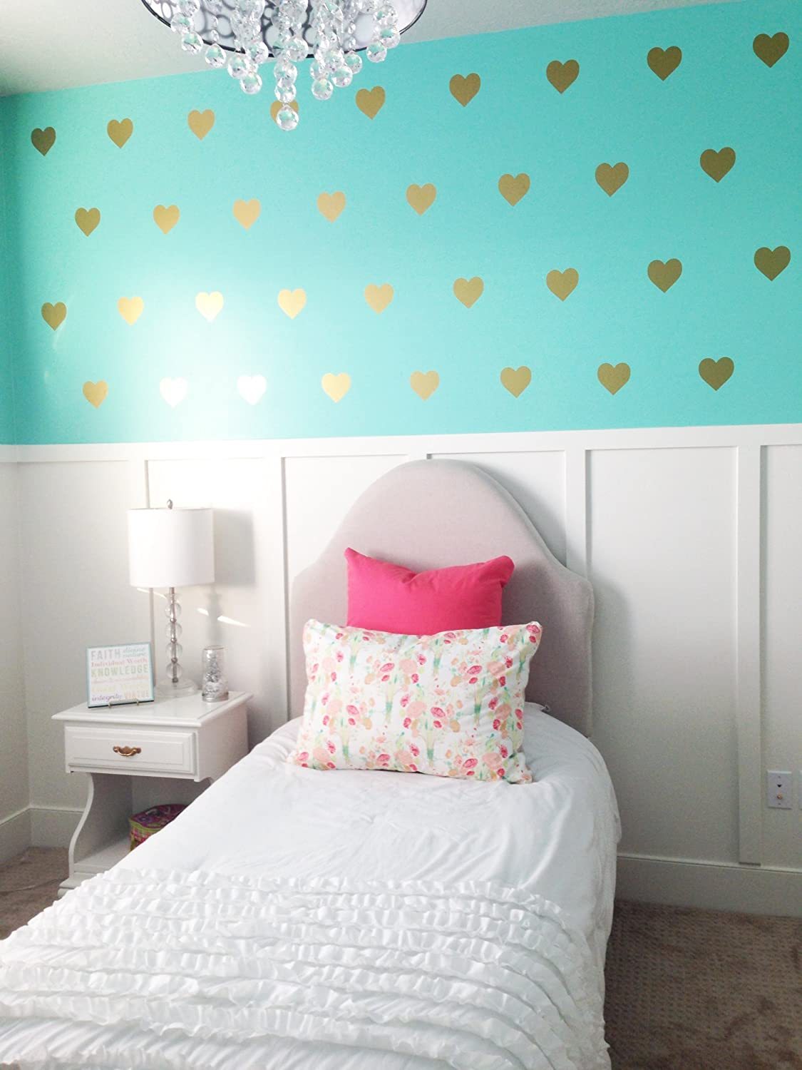 Vinyl Wall Decals Removable Wall Stickers Hearts (Gold, 3 Part 91