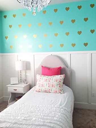 Amazoncom Vinyl Wall Decals Removable Wall Stickers Hearts Gold - Vinyl wall decals removable