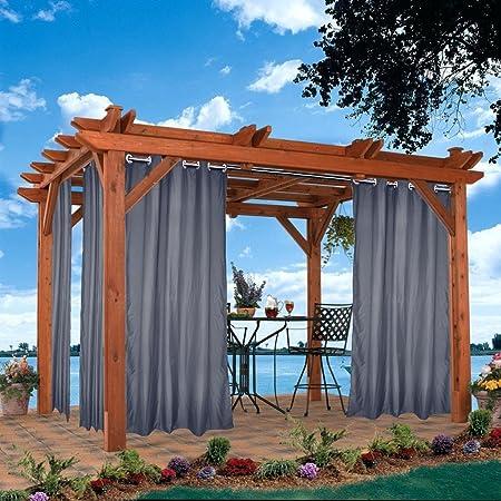 DOMDIL - Cortinas para exteriores, cortinas de jardín, cortinas para balcón, cortinas opacas con ojales, cortina resistente al agua, resistente a la harina, cenador de playa, gris, Con ojales., 132x215cm: Amazon.es: Productos