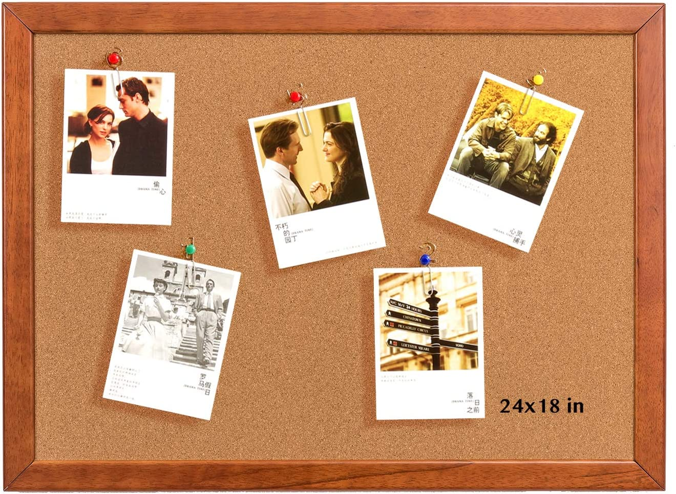 Cork Board 18 x 24 Inch Bulletin Board, Notice Board 100% Wood Frame Brazil Imported, Mounting Hardware, Push Pins Included