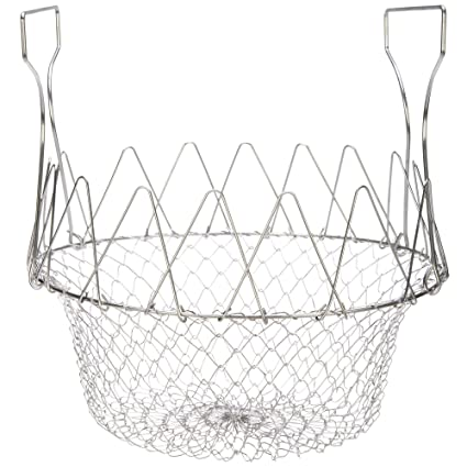 Absales Chef Basket 12 in 1 Kitchen Tool for Cook, Deep Fry, Boiling Solid Steel Delux