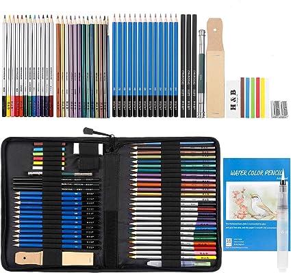 WOMGF Lápices de Colores Profesionales lapiz de Dibujo y Bosquejo para Adultos y Niños Incluye Caja de Cremallera Portátil,53 Piezas, Multicolor: Amazon.es: Oficina y papelería