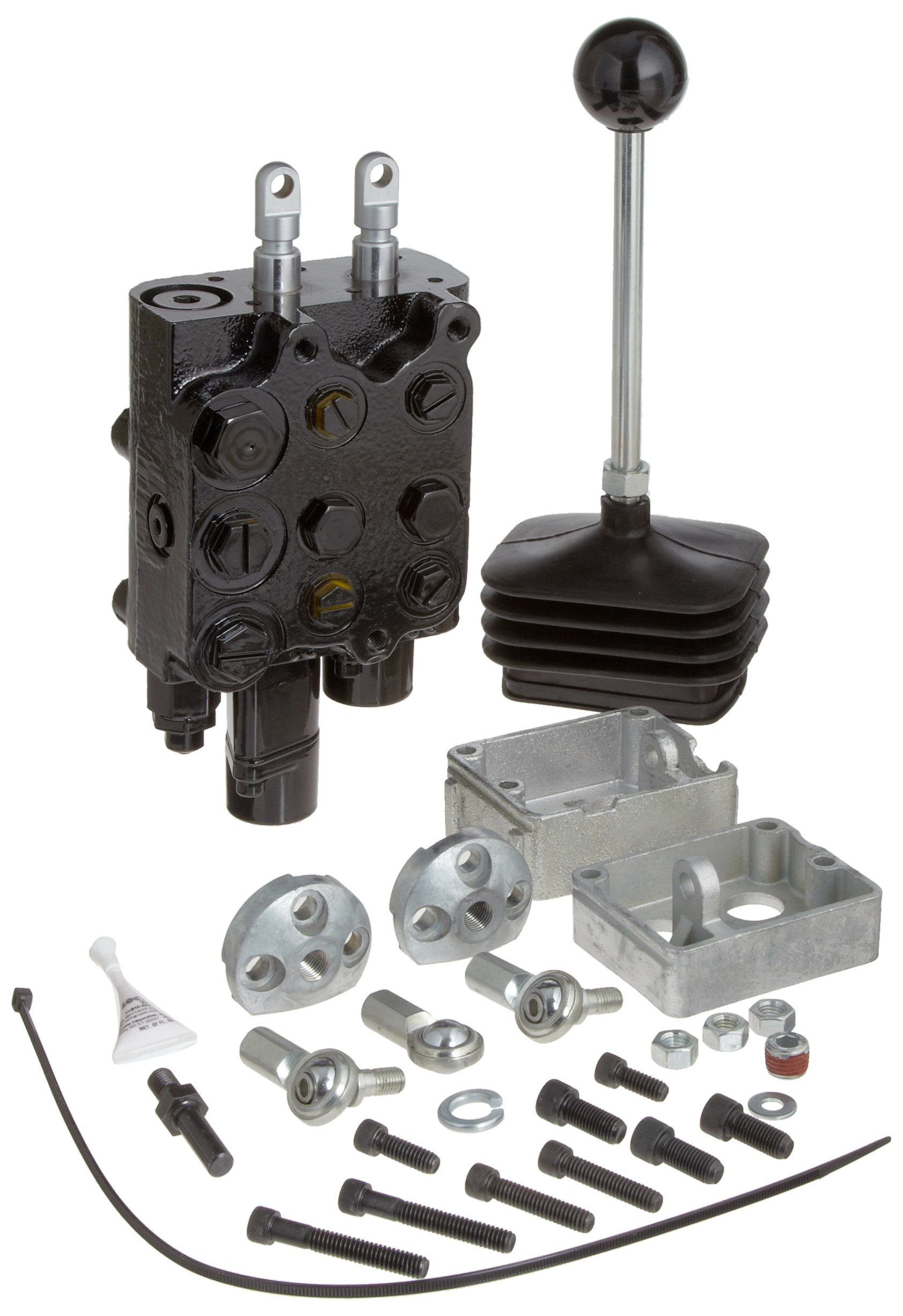Prince LVT1GB5AB7 Loader Valve, Monoblock, Cast Iron, 2 Spool, 4 Ways, 4 Positions, Single Acting Cylinder Spool, Spring Center with Float Detent, Joystick Handle, 3000 psi, 10 gpm, In/Out: #8 SAE, Work #6 SAE