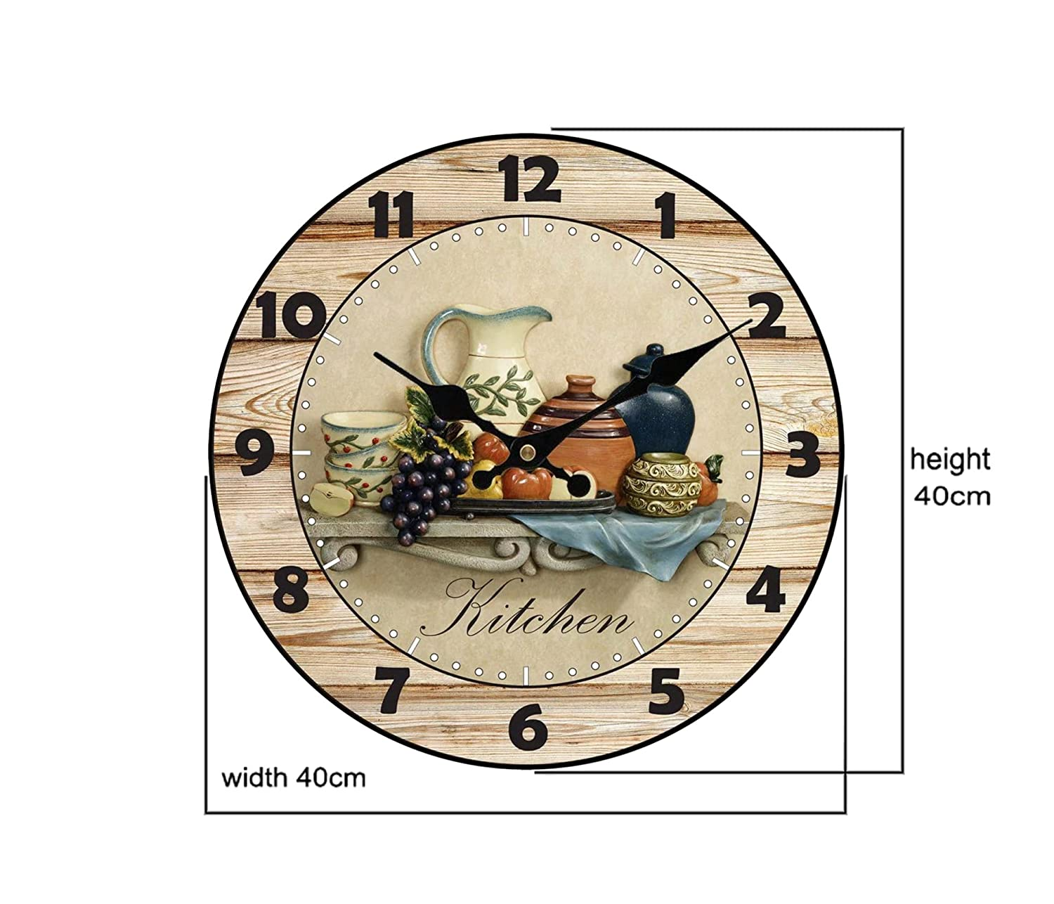 Amazon.com: Upuptop Modern Home Decor Quiet Sweep Movement Kitchen Round Wood Wall Clock Fruit Ceramics 16inch: Home & Kitchen