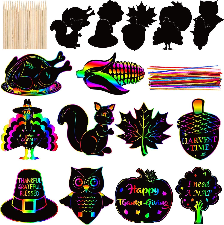 40 PCS Fall Thanksgiving Rainbow Magic Scratch Art Set - Fall Thanksgiving Paper Crafts Kit for Kids - Thanksgiving Turkey Maple Pumpkin Hanging Ornaments Decoration for Home Tree Classroom Decor
