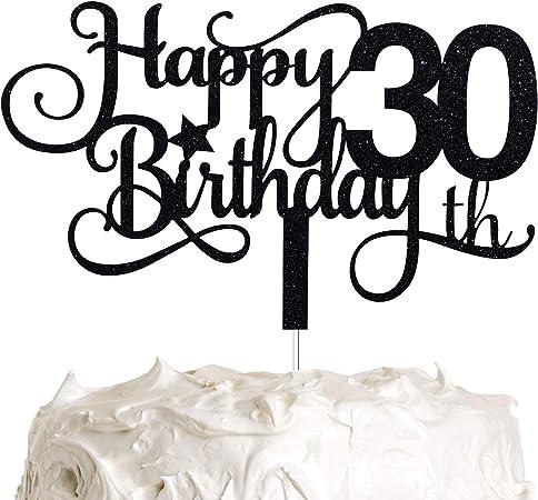 Thirtieth Party Decor Black Glitter Milestone Theme Thirty Anniversary Decoration 30 Cake Topper 30th Birthday