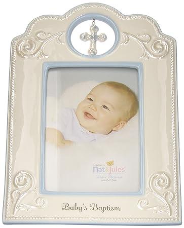 Amazon.com : Nat and Jules Baby\'s Baptism Frame, Blue : Nursery ...