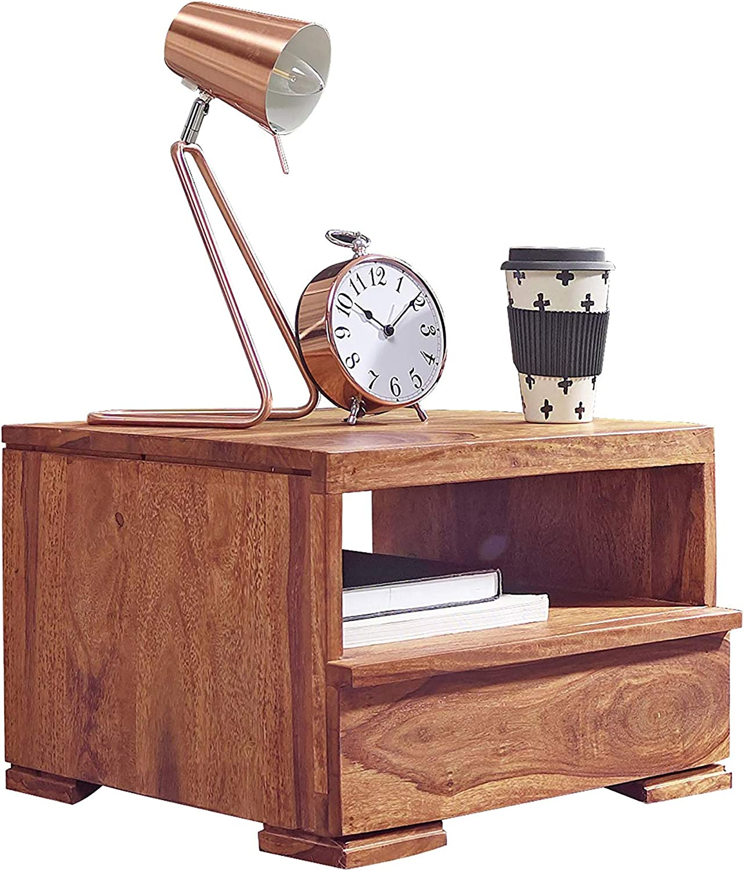 FineBuy Nachttisch Massiv-Holz Sheesham Nacht-Kommode 30 cm 1 Schublade Ablage Nachtschrank Landhaus-Stil Echt-Holz Nachtk/ästchen dunkel-braun Nacht-Konsole Natur-Produkt Schlafzimmer-M/öbel Unikat