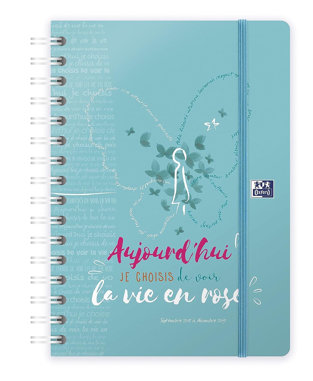 Oxford 100735815 M. Bonheur Agenda Civil Journalier spiralé Année 2019 15 x 21 cm Turquoise Hamelin