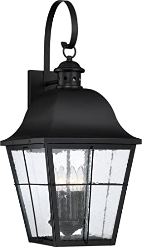 Quoizel MHE8412K Millhouse Seedy Glass Outdoor Wall Lantern Wall Mount Lighting, 4-Light, 240 Watts, Mystic Black 27 H x 12 W