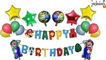 Amazon.com: RORARO Mario Paquete de globos de fiesta de ...