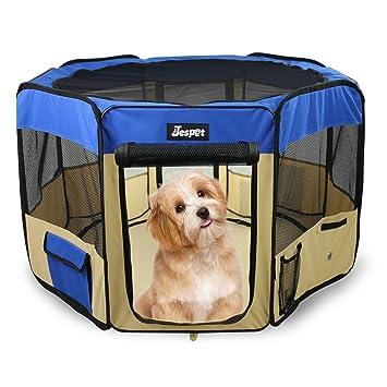 61u0026quot; Pet Dog Playpens, Jespet Portable Soft Dog Exercise Pen Kennel  With Carry Bag
