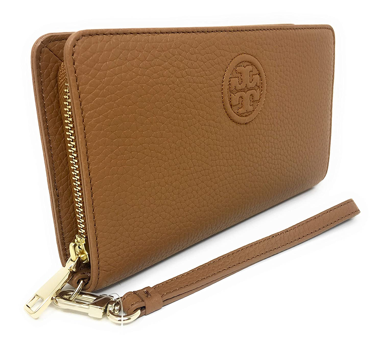 3fc49b172660 Amazon.com  Tory Burch Women s Bombe Smartphone Leather Wristlet (Bark Brown)   Clothing