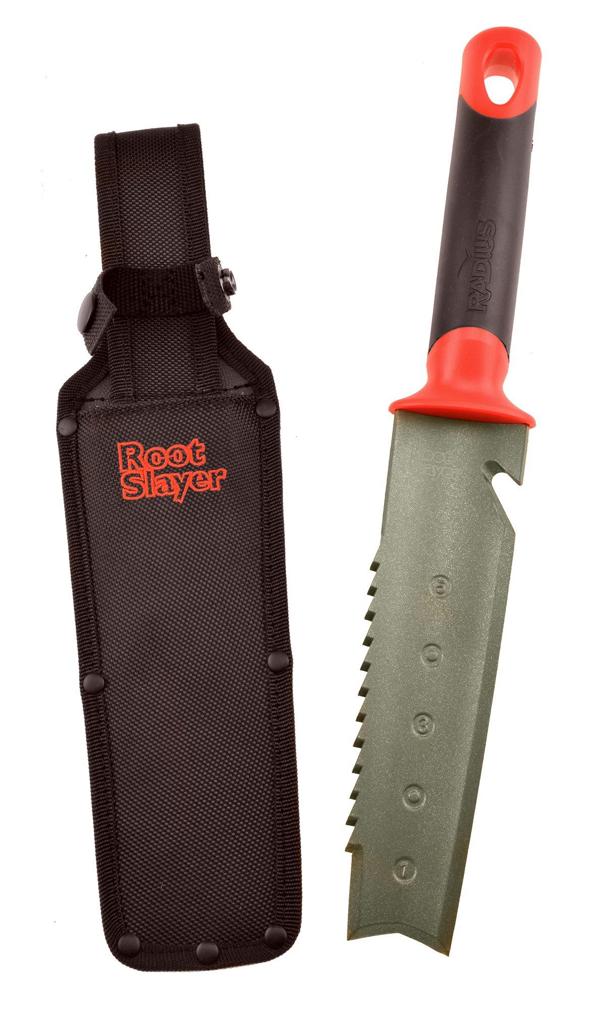 Radius Garden 17211 Root Slayer Soil Knife with Holster, Root Slayer Soil Knife with Holster, Red by Radius Garden