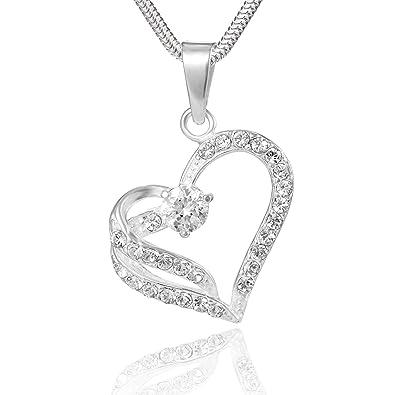 LillyMarie Femme Argent Collier Vrai Argent Pendentif Swarovski Elements  originaux Coeur Trasparent Longueur réglable Écrin bijoux 64eea9253e9a
