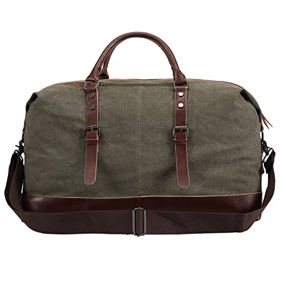 a84cf6477 Amazon.com | Ulgoo Travel Duffel Bag Canvas Bag PU Leather Weekend Bag  Overnight (Amy Green) | Sports Duffels