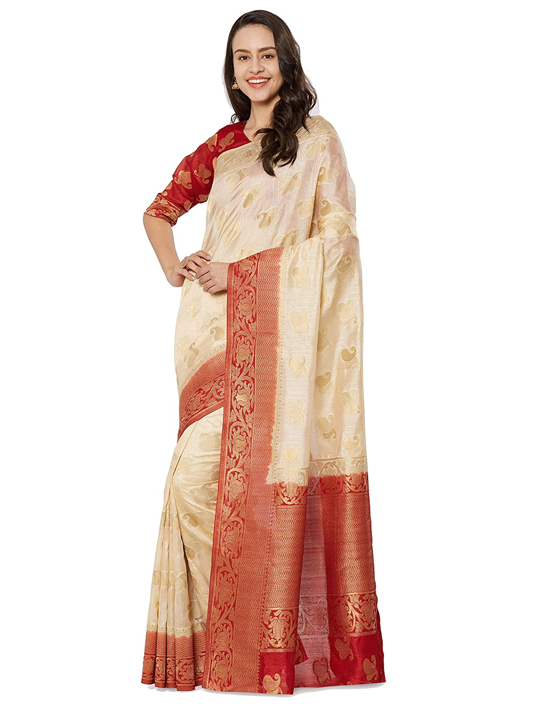 8c550877d723e Amazon.com  Viva N Diva Sarees for Women s Banarasi Kanchivaram Silk Cream  Saree with Un-Stiched Blouse Piece