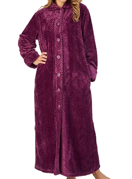 Slenderella Ladies Button Up Waffle Dressing Gown Super Soft Flannel Fleece  Bath Robe (S - XXXL)  Amazon.co.uk  Clothing 20daee15c